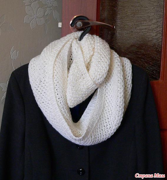 Белый шарф снуд-труба