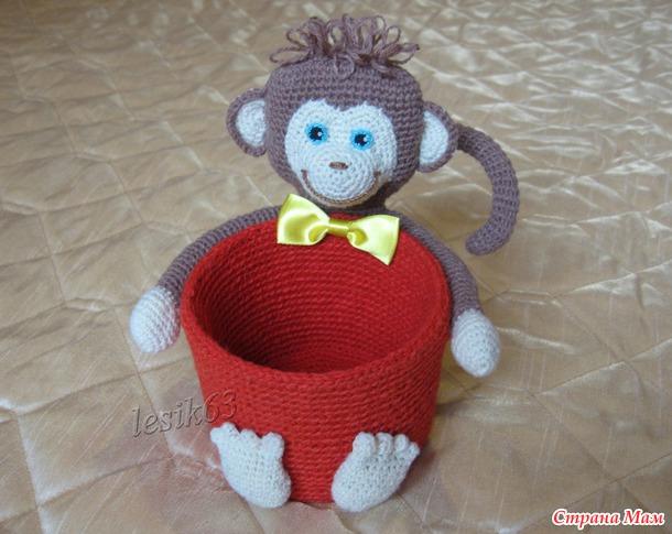 МК корзиночки с обезьянкой в подарок «Странамамочкам» к Новому 2016 году.