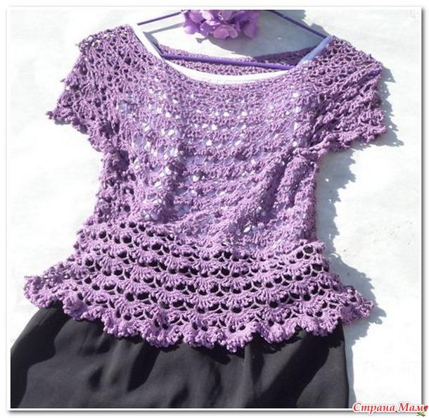 Сиреневая ажурная блуза.