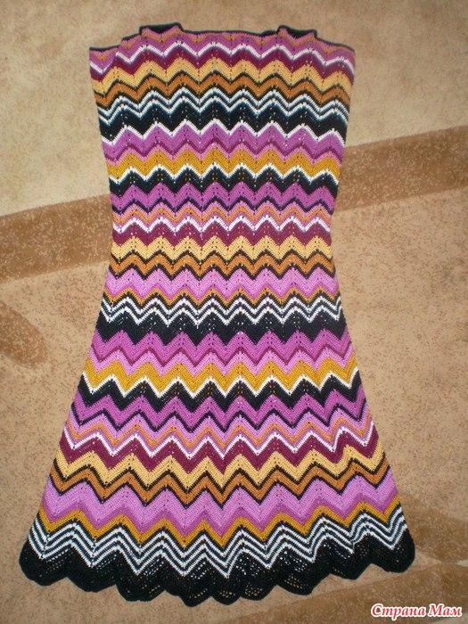 Платье крючком зигзагами видео