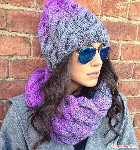 Вязание шапка с узором коса