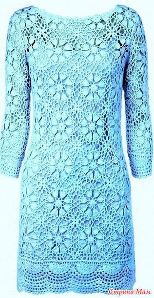 Бирюза. Нарядное платье из мотивов.