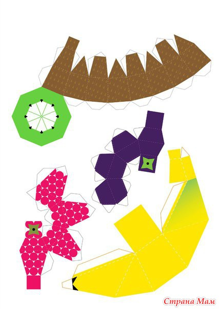 Забавные объёмные поделки из бумаги: сочные фрукты