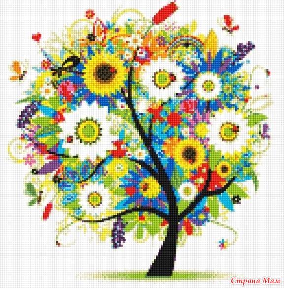Времена года дерево вышивка крестом