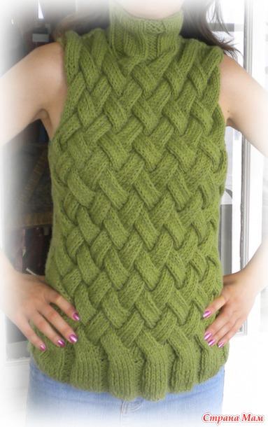 узор плетенка спицами для жилетов