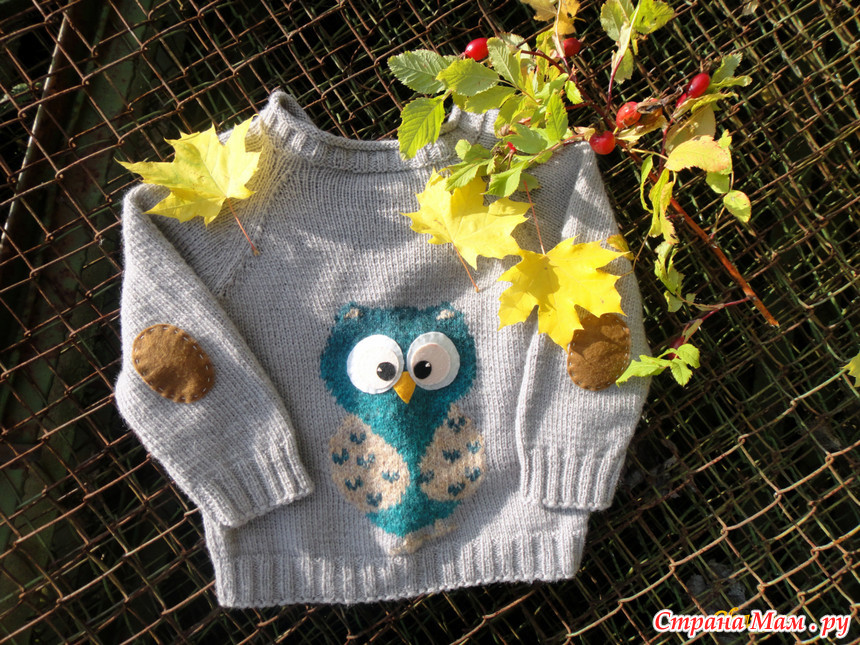 Вязание свитер с совой спицами 95