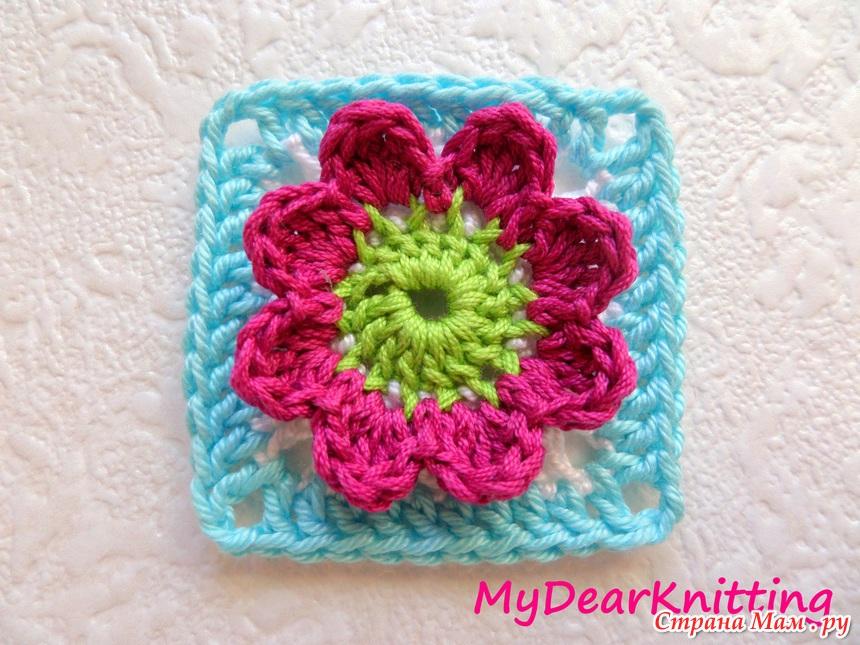 Вязание крючком бабушкин квадрат с цветком