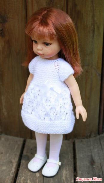 Вязанные платья для куклы спицами