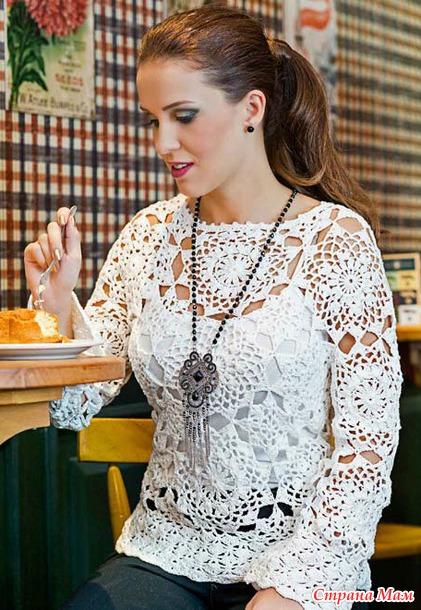 . Белое кружево. Блуза из мотивов.
