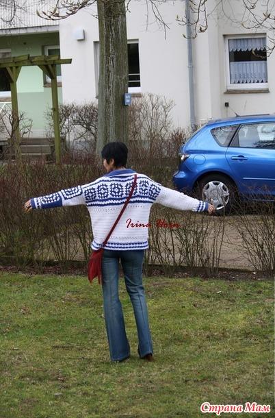 """Куртка """" Бабушкин квадрат в """" гжели (крючок)"""