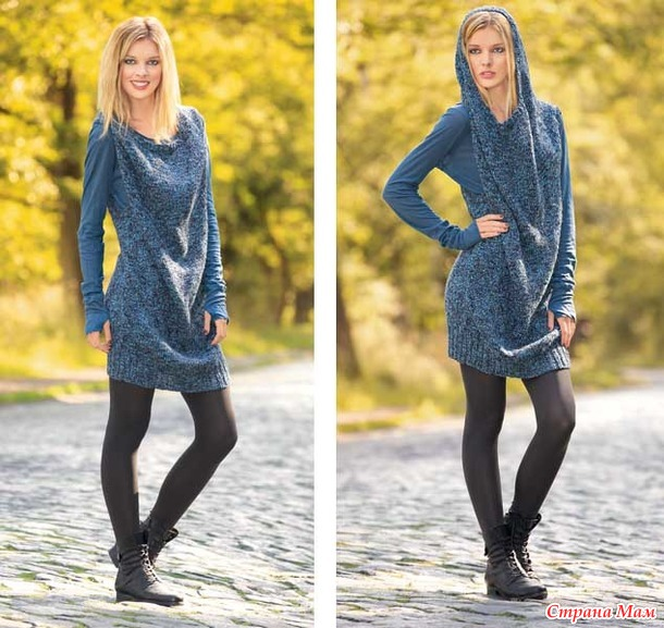 Короткое платье-сарафан с капюшоном