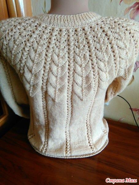 вязание крючком свитер с ажурной кокеткой схема