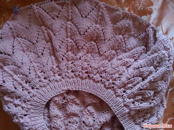 вязание кофточки с ажурной кокеткой