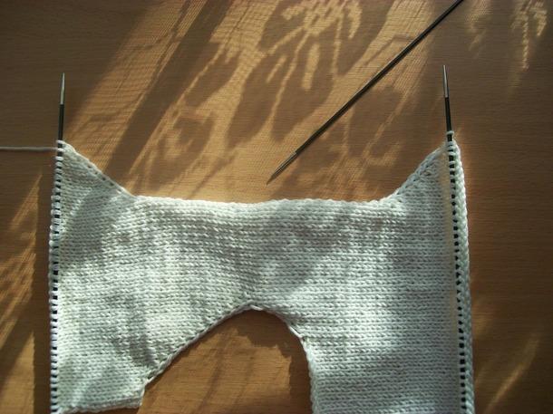 Вязание сверху имитация вшивного рукава 92
