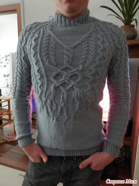 Вязание мужского свитера с аранами спицами 116