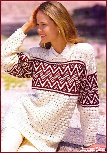 Пуловер с жаккардовой полосой
