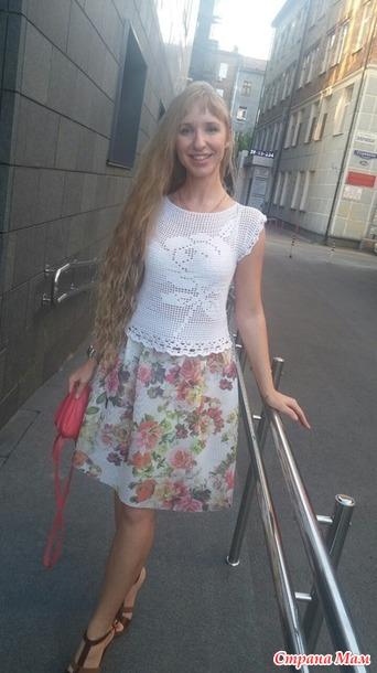 Белая майка филейка