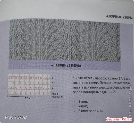 Вязание спицами узор павлин схема узора