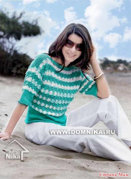 Бирюзово - белый пуловер