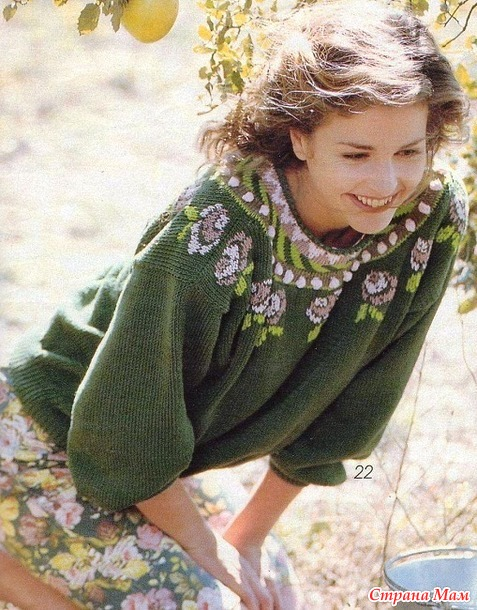 * Пуловер с круглой кокеткой