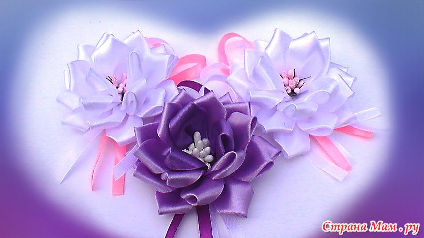Простые цветы канзаши мастер класс видео