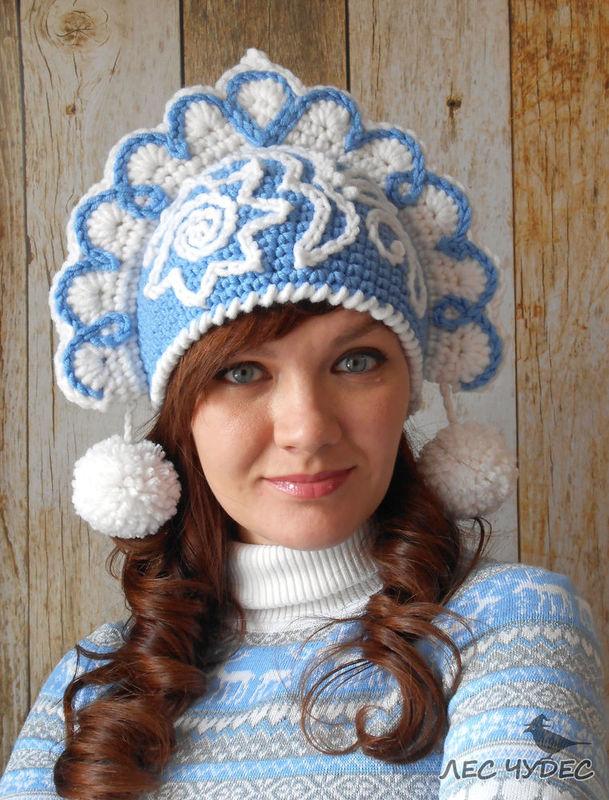 """钩针""""雪之少女""""俄国女帽 - maomao - 我随心动"""
