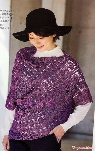Ажурный пуловер оригинального силуэта. Крючок.