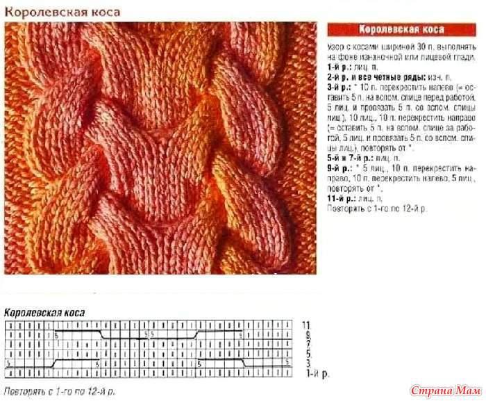Узоры с косами для вязания на спицах с образцами 273