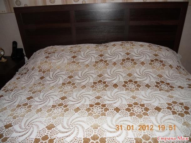 Покрывало на кровать крючком своими руками фото