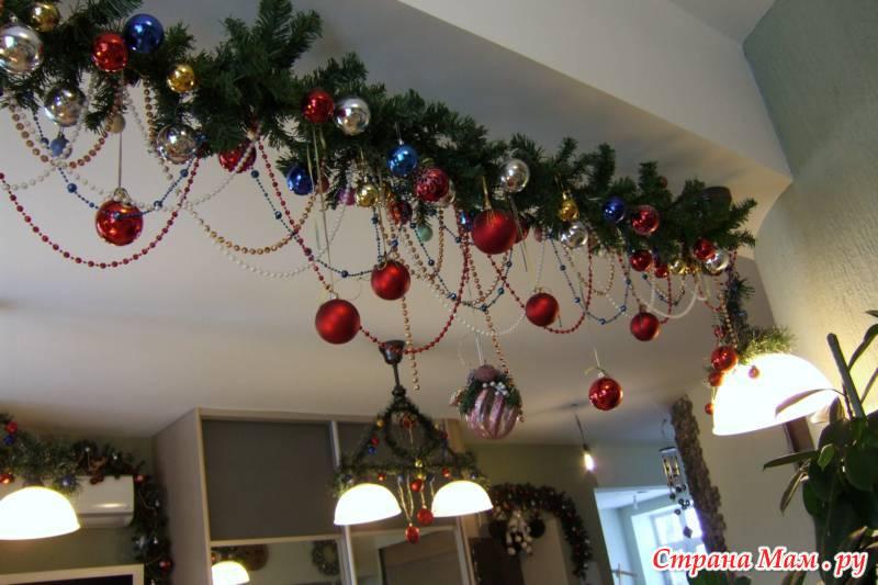 Новогодние украшение на потолок своими руками