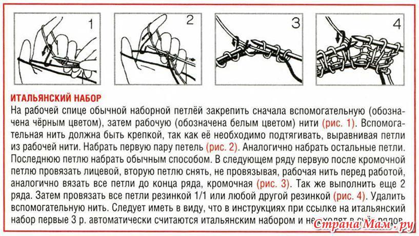 Набор петель для вязания спицами по кругу