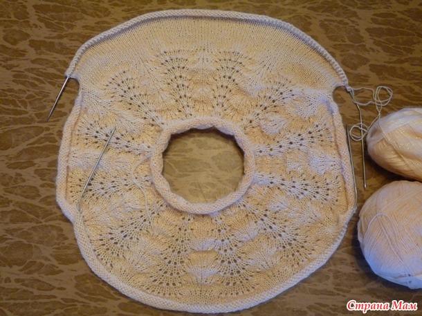 Вязание спицы круглые кокетки сверху с ростком на спинке 63