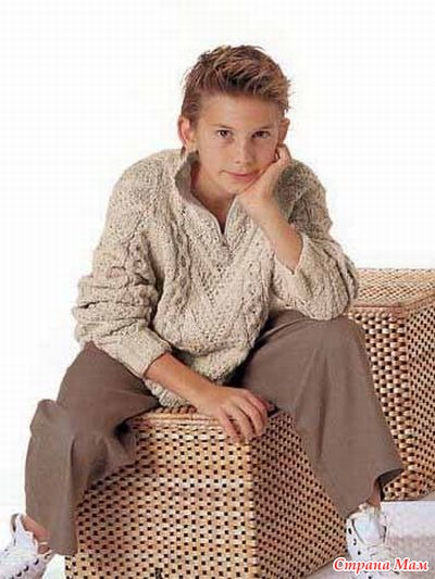 Вязаный джемпер с косами для подростка