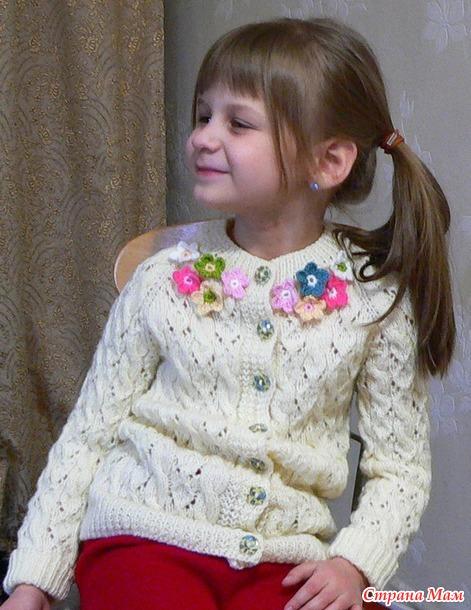 """Продам мастер класс. Жакет для девочки 6-8 лет связанный методом """"реглан сверху""""."""