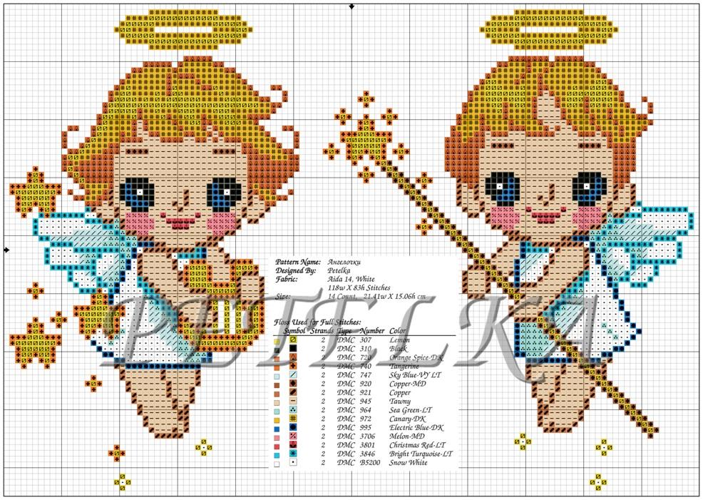 Схема для вышивки два ангела