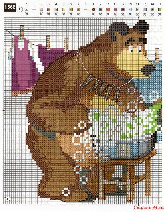 вышивка крестом маша и медведь схемы