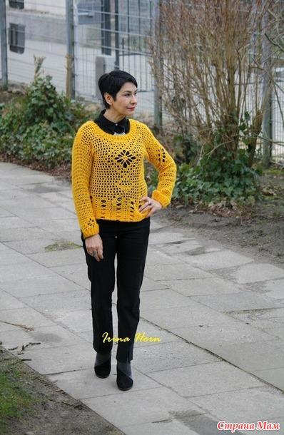 """Пуловер  крючком """"Лютик"""", в подарок незнакомке в СМ"""