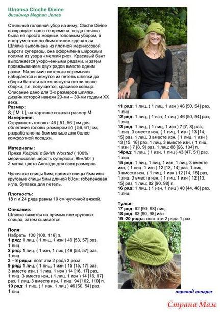 Вязаные шляпки со схемами спицами женские с описанием и