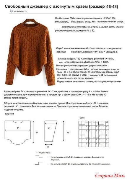 Вязать модный свитер спицами схемы с описаниями