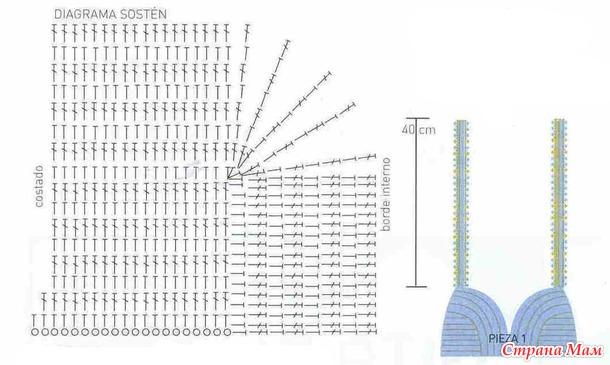 Вязание крючком схемы бюстгальтера