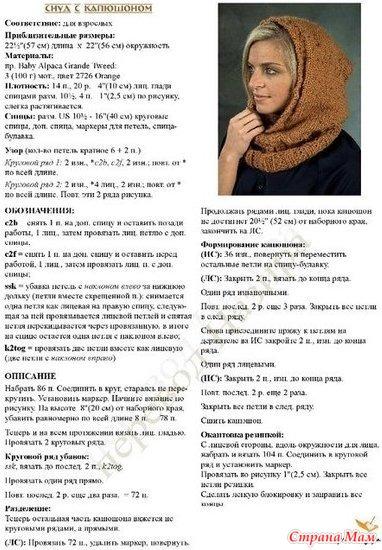 Схема вязания капора для женщин спицами