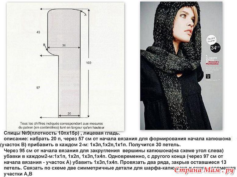 Схемы вязания шарф капюшон
