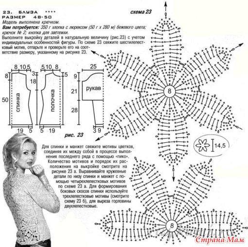 Вязать блузы крючком схемы