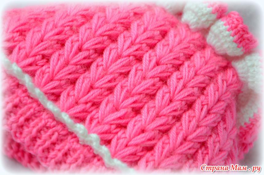 Страна мам вязание спицами шапка узором колосок