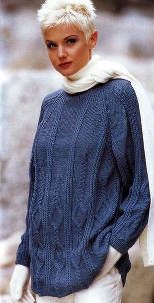 Синий пуловер спицами.