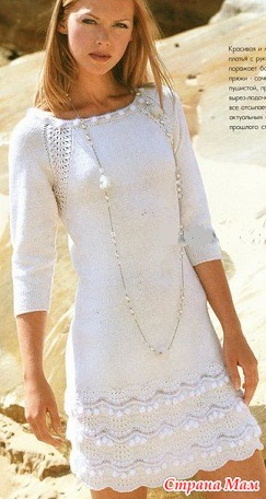 Вяжем горловину спицами на платье