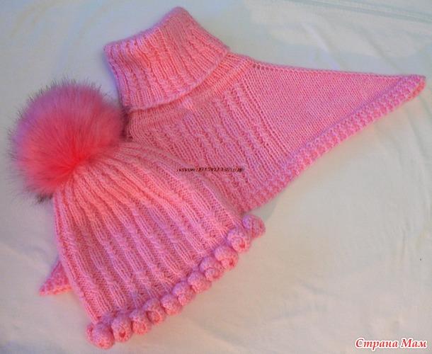 Розовый комплект. Шапочка с розочками и манишка. Мастер класс.