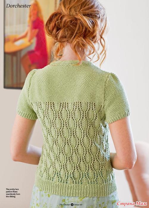 Вязание ажурных кофточек спицами из хлопка