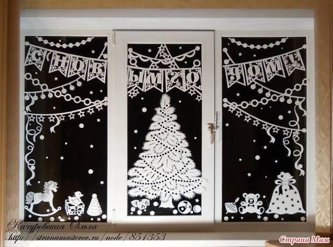 Украшения для окно на новый год