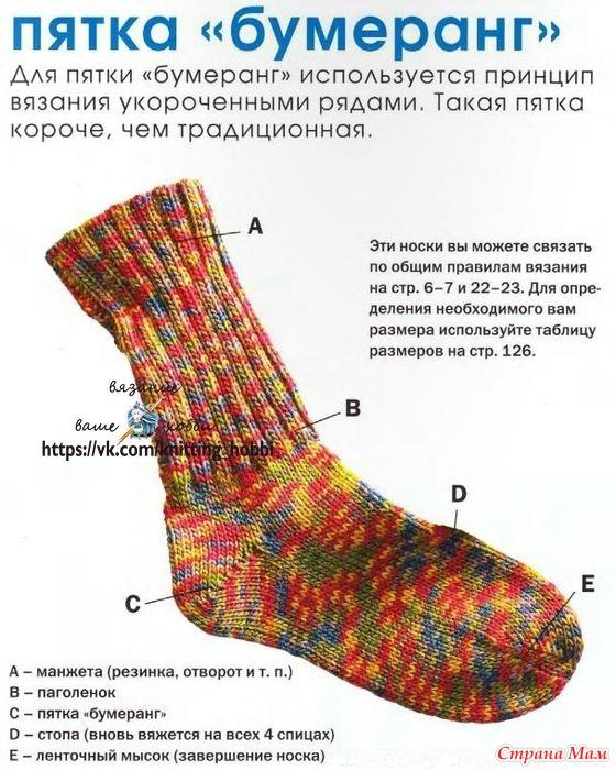 Вязание носки с пяткой бумеранг